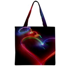 Neon Heart Grocery Tote Bag by BangZart