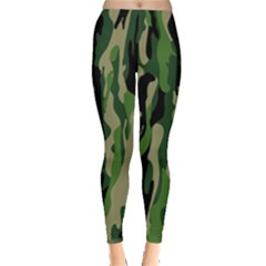 Green Military Vector Pattern Texture Leggings  by BangZart