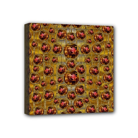 Angels In Gold And Flowers Of Paradise Rocks Mini Canvas 4  X 4  by pepitasart