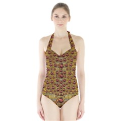 Angels In Gold And Flowers Of Paradise Rocks Halter Swimsuit