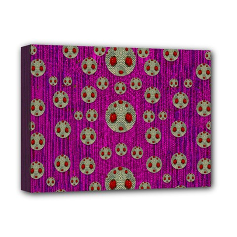 Ladybug In The Forest Of Fantasy Deluxe Canvas 16  X 12   by pepitasart