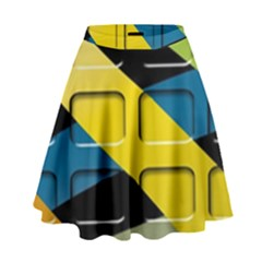 Colorful Docking Frame High Waist Skirt by BangZart
