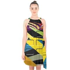 Colorful Docking Frame Halter Collar Waist Tie Chiffon Dress