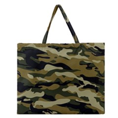 Military Vector Pattern Texture Zipper Large Tote Bag by BangZart