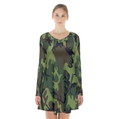 Military Camouflage Pattern Long Sleeve Velvet V-neck Dress