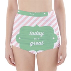 Today Will Be Great High-Waisted Bikini Bottoms by BangZart