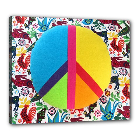 Peace Sign Animals Pattern Canvas 24  X 20  by BangZart