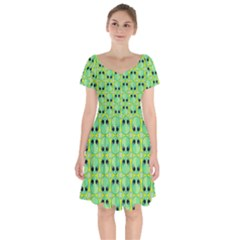 Alien Pattern Short Sleeve Bardot Dress