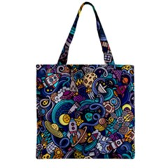 Cartoon Hand Drawn Doodles On The Subject Of Space Style Theme Seamless Pattern Vector Background Grocery Tote Bag by BangZart