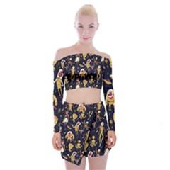 Alien Surface Pattern Off Shoulder Top with Skirt Set