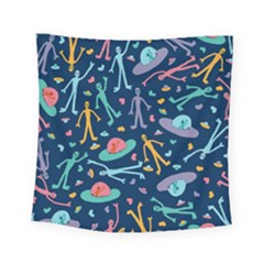 Alien Pattern Blue Square Tapestry (Small)