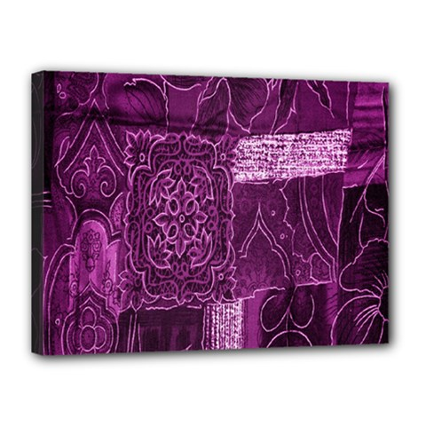 Purple Background Patchwork Flowers Canvas 16  X 12  by BangZart