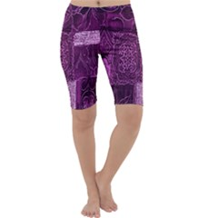 Purple Background Patchwork Flowers Cropped Leggings