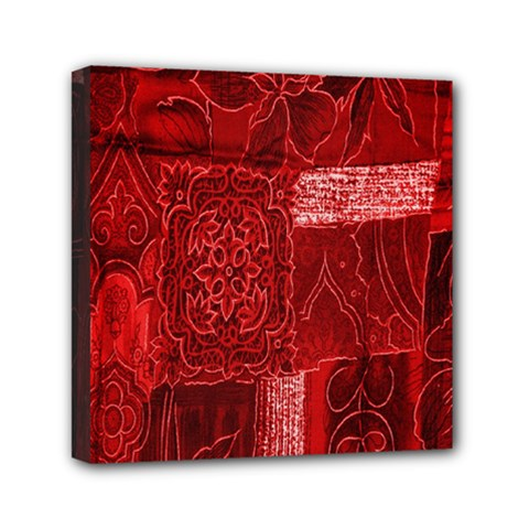 Red Background Patchwork Flowers Mini Canvas 6  X 6  by BangZart