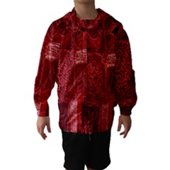 Red Background Patchwork Flowers Hooded Wind Breaker (kids) by BangZart