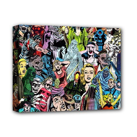 Vintage Horror Collage Pattern Deluxe Canvas 14  X 11  by BangZart