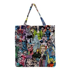 Vintage Horror Collage Pattern Grocery Tote Bag by BangZart