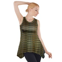 Background Colors Of Green And Gold In A Wave Form Side Drop Tank Tunic