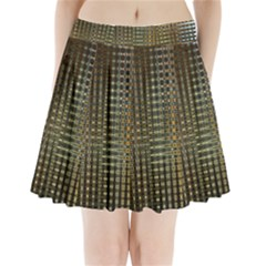 Background Colors Of Green And Gold In A Wave Form Pleated Mini Skirt by BangZart