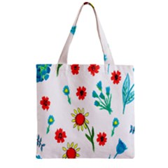 Flowers Fabric Design Zipper Grocery Tote Bag by BangZart