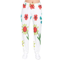 Flowers Fabric Design Drawstring Pants by BangZart