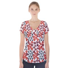 Simple Japanese Patterns Short Sleeve Front Detail Top