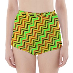 Green Red Brown Zig Zag Background High Waisted Bikini Bottoms by BangZart