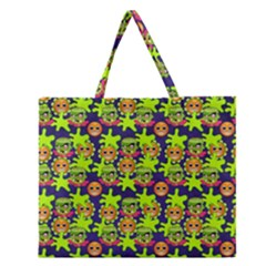 Smiley Monster Zipper Large Tote Bag by BangZart