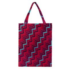Red Turquoise Black Zig Zag Background Classic Tote Bag by BangZart