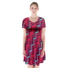 Red Turquoise Black Zig Zag Background Short Sleeve V Neck Flare Dress by BangZart