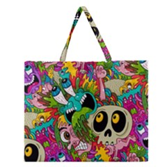 Crazy Illustrations & Funky Monster Pattern Zipper Large Tote Bag by BangZart