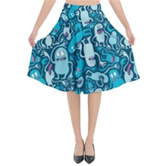 Monster Pattern Flared Midi Skirt by BangZart