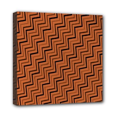 Brown Zig Zag Background Mini Canvas 8  X 8  by BangZart