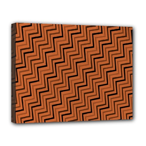 Brown Zig Zag Background Canvas 14  X 11  by BangZart