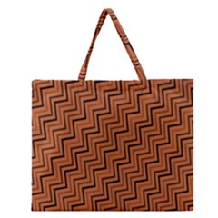 Brown Zig Zag Background Zipper Large Tote Bag by BangZart