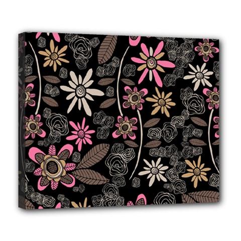 Flower Art Pattern Deluxe Canvas 24  X 20   by BangZart