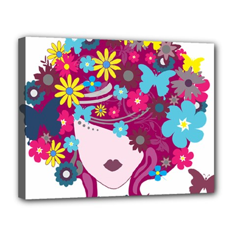 Beautiful Gothic Woman With Flowers And Butterflies Hair Clipart Canvas 14  X 11  by BangZart
