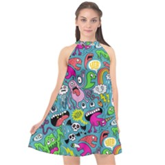 Monster Party Pattern Halter Neckline Chiffon Dress  by BangZart