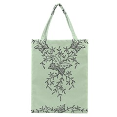 Illustration Of Butterflies And Flowers Ornament On Green Background Classic Tote Bag by BangZart