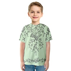 Illustration Of Butterflies And Flowers Ornament On Green Background Kids  Sport Mesh Tee