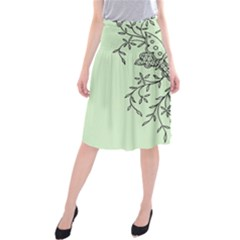 Illustration Of Butterflies And Flowers Ornament On Green Background Midi Beach Skirt by BangZart