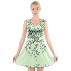 Illustration Of Butterflies And Flowers Ornament On Green Background V-Neck Sleeveless Skater Dress