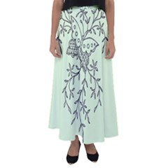 Illustration Of Butterflies And Flowers Ornament On Green Background Flared Maxi Skirt