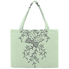 Illustration Of Butterflies And Flowers Ornament On Green Background Mini Tote Bag by BangZart