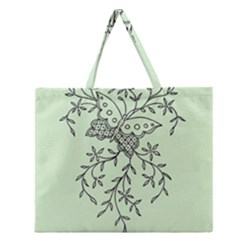 Illustration Of Butterflies And Flowers Ornament On Green Background Zipper Large Tote Bag by BangZart