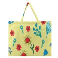 Flowers Fabric Design Zipper Large Tote Bag by BangZart