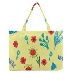 Flowers Fabric Design Medium Zipper Tote Bag by BangZart