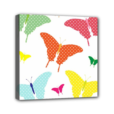 Beautiful Colorful Polka Dot Butterflies Clipart Mini Canvas 6  X 6  by BangZart