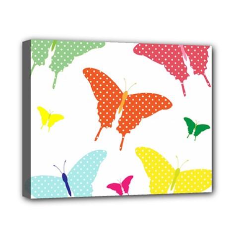 Beautiful Colorful Polka Dot Butterflies Clipart Canvas 10  X 8  by BangZart