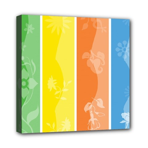 Floral Colorful Seasonal Banners Mini Canvas 8  X 8  by BangZart